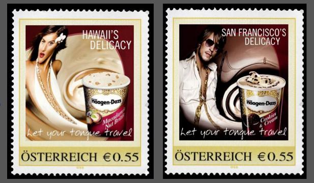 Die ersten leckeren Briefmarken der Welt: mit dem Geschmack der neuen Sorten.